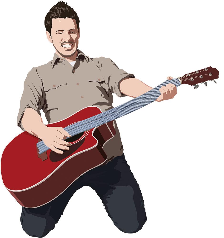 Man spelar gitarr med slangsträngar.